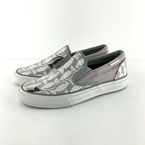 Converse Pink/Green Black Cat Slip On Loafers Sz 7